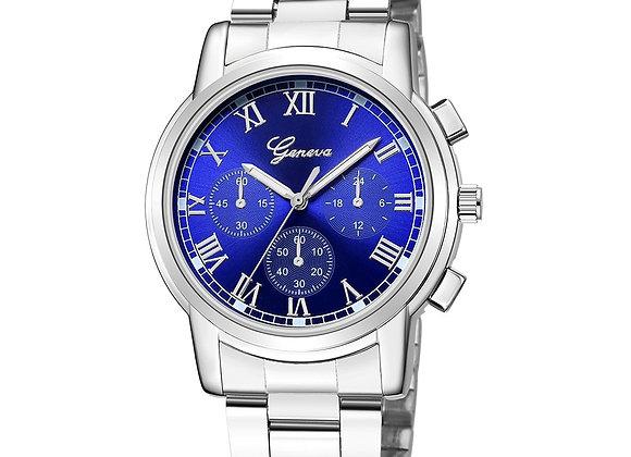 Geneva Women Watch Elegant Brand Famous Luxury Silver Quartz Watches Ladies Ste