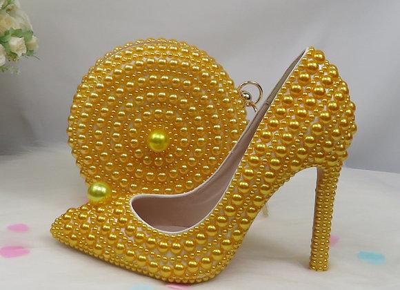 BaoYaFang Yellow Pearl Women Wedding Shoes With Matching Bags Bride High Heels
