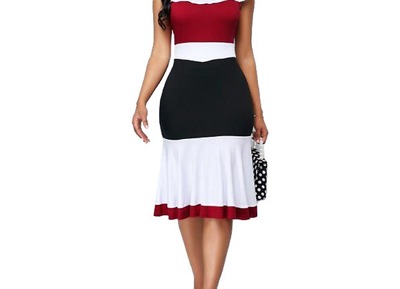 Casual Plus Size Slim Ruffles Office a Line Dresses Elegant Vintage