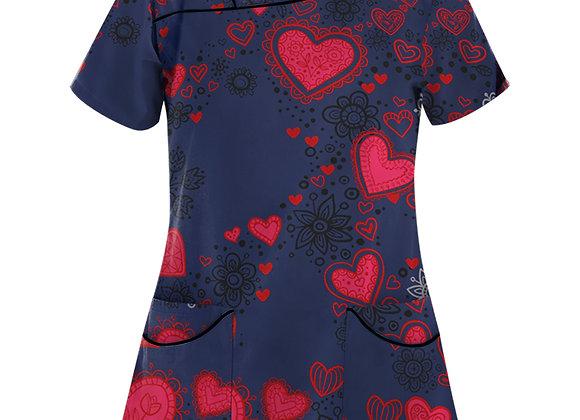 #Aa33 Women Short Sleeve v Neck Tops Working Uniform Butterfly Love Print Blouse