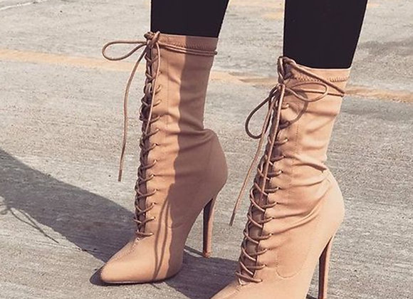 Aneikeh Stretch Fabric Cross Strap Boots Women Sexy Pointy Stiletto Heel Lace Up
