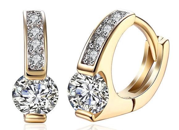 DOTEFFIL 925 Sterling Silver AAA Zircon 18K Gold Diamond Earrings for Women Jewe