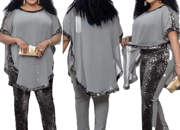 African Dresses for Women 3 Piece Set Dashiki Sequined Top Pants African Clothes