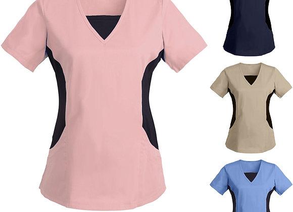 #BA80 Women Short Sleeve V-Neck Tops Working Uniform Solid Patchwork Color Pocke