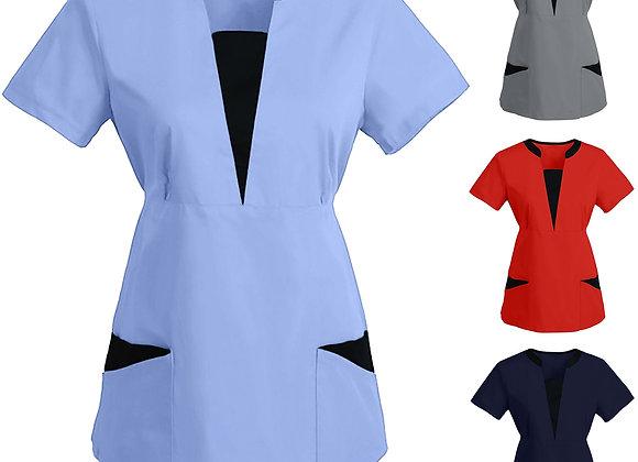 #BB81 Women Short Sleeve V-Neck Tops Working Uniform Solid Patchwork Color Pock