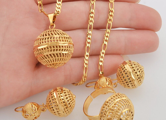 Anniyo African Beads Jewelry Sets Pendant Necklaces Earrings Ring Women