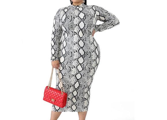 Autumn Office Lady Plus Size Dress Womens Round Neck Long Sleeve Dress Multicolo