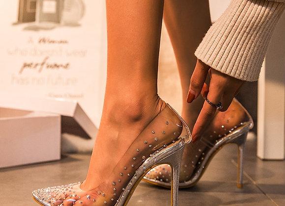 Aneikeh Rhinestone Clear PVC Transparent Pumps Perspex Heel Stilettos High Heels