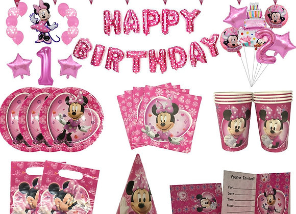 Disney Pink Minnie Mouse Theme Party Supplies Cup Plate Cap Straws Kids Girl Bir