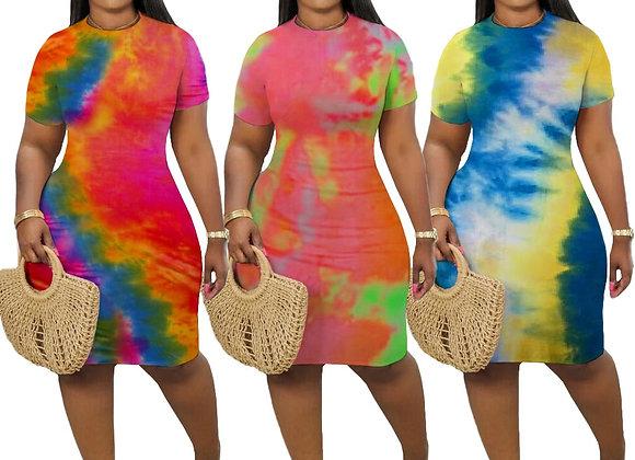 CM.YAYA Women Tie Dye Print O-Neck Short Sleeve Bodycon Midi Dress