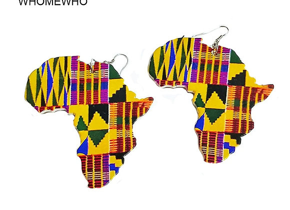 Africa Map Outline Wood African Colorful Printed Stripes Triangle Geometric Afro