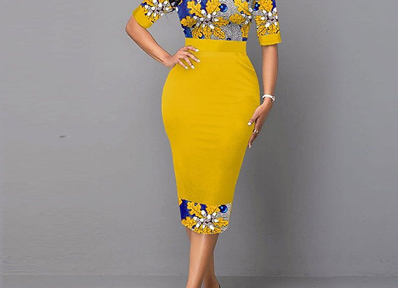Floral Print Patchwork Yellow Elegant Office Lady Dress for Women 2020 Fashion