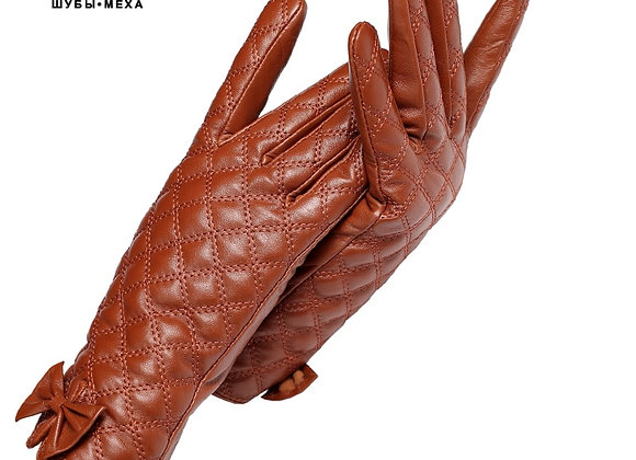 Cold Winter Ladies Gloves,Genuine Leather,Adult,Warm Cotton Lining,Yellow-Brown