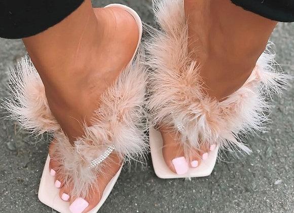 Eilyken Summer Slippers Women Furry Slides Fashion Square Toe Transparent Persp