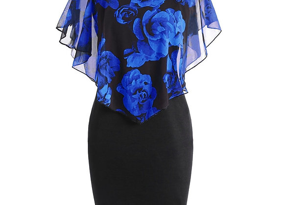 Dress Plus Size Rose Print Chiffon O-Neck Ruffles Mini Dress 2020 Casual Fashion