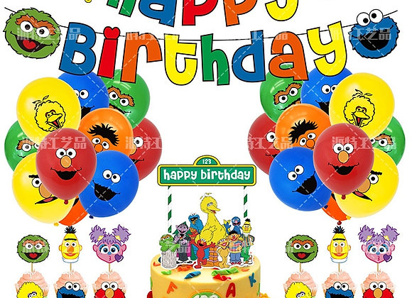 1set New Sesame Street Latex Balloons Happy Birthday Banner Baby Shower Birthday