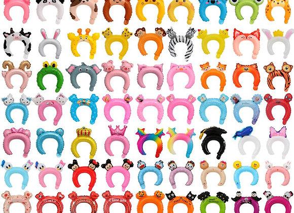 100pcs/Set Cartoon Animal Hair Hoop Balloon Pink Unicorn Crown Aluminum Film Hea