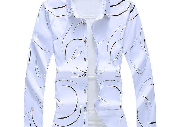 Autumn New Men's Printed Shirt Fashion Casual White Long Sleeve Shirt Male