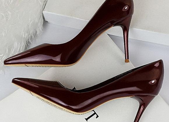 8.5cm High Heels Glossy Red Pumps Lady Blue Burgundy Heels Nude Scarpins