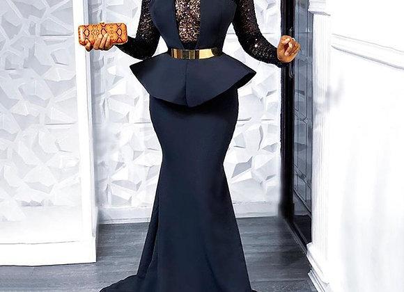 Elegant Floor Length Long Evening Party Dress Women Sexy Lace Sheer Long