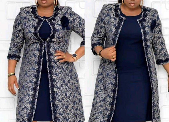 African Women Midi Dress Two Piece Set Office Ladies Print Suit Casual