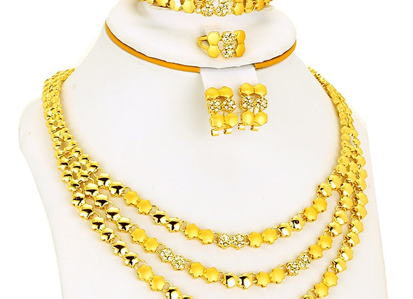Dubai Jewelry Sets Gold Color Necklace & Earrings Bridal Collares  Jewelry