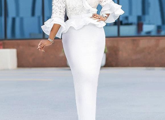 Elegant Lace Ptachwork Ruffle White Long Dress Bodycon African Style Sexy v Neck