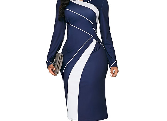 Casual Plus Size Slim Office Pencil Dresses v Neck Geometric Print Long