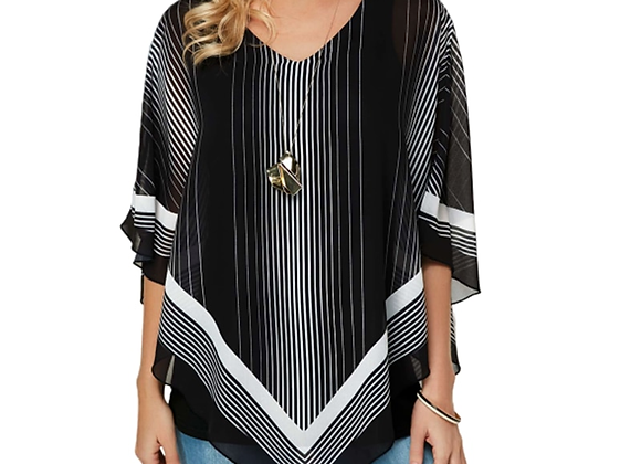 Chiffon Blouses V-Neck Collar Leisure Striped Blouse Shirt Casual Tops Plus Size