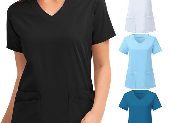 #A062 Women Short Sleeve V-Neck Tops Nursing Working Uniform Solid Color
