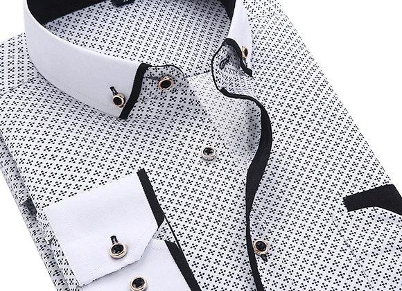2020 Men Fashion Casual Long Sleeved Printed Shirt Slim Fit Male Social Busines