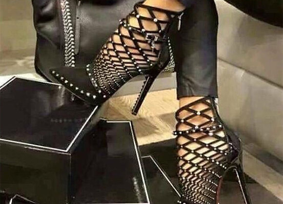 Aneikeh 2020 Gladiator Roman Sandas Summer Rivet Studded Cut Out Caged Ankle Boo