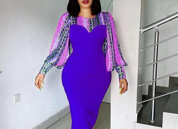 3XL Plus Size Africa Clothing Dashiki Flowers Print Long Sleeve Midi Dress 2021
