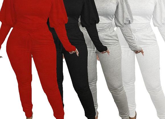 CM.YAYA Sport Sweatsuit Women's Set Lantern Long Sleeve Sweatshirt Jogger Pant
