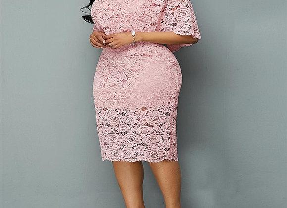 5XL 6XL Women Summer Autumn Big Size Dress Elegant  Pink Lace Dress Fem