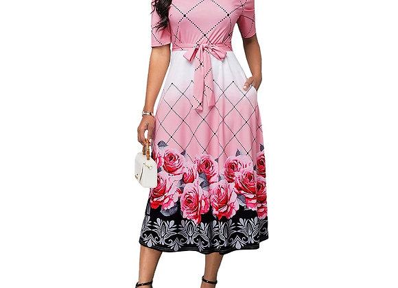 Elegant Floral Print Banquet Long Party Dress Casual Plus Size