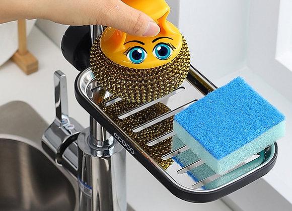 Faucet Sponge Soap Drainage Storage Rack Sink Adjustable Dish Cloth   Drain Hold