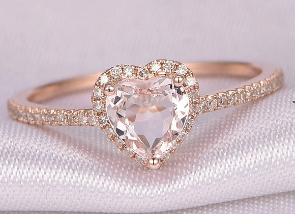 Fashion Crystal Heart Shaped Wedding Rings for Women Rose Gold Ladies Engagement