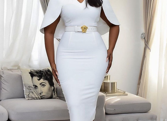 African Sexy Women V-Neck Half Sleeve Bodycon Dress Pure White Mid-Calf High