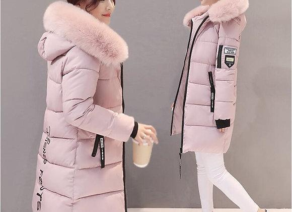 Winter Women Hooded Coat Fur Collar Thick Warm Long Jacket Female Plus Size
