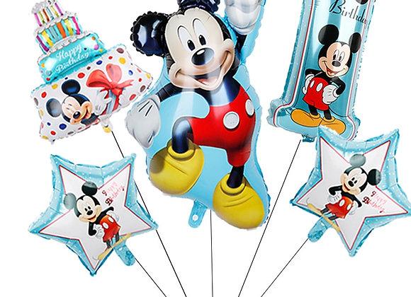 1set Mickey Minnie Mouse Star Helium Foil Balloons Kids Birthday Party Decora
