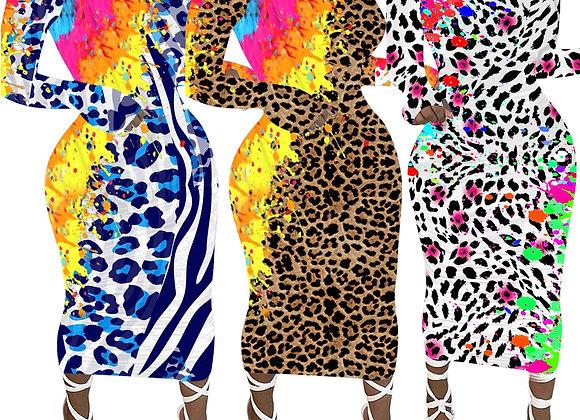 CM.YAYA Women Graffiti Leopard Print Long Sleeve Bodycon Midi Maxi Dress