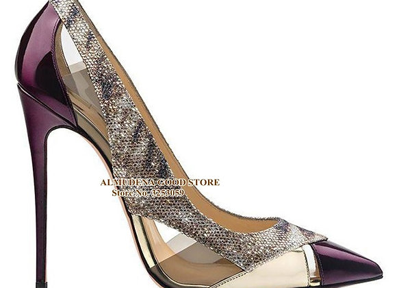 ALMUDENA Purple Patent Leather Pointed Toe Pumps 12 10 8cm Stiletto Heels Clear