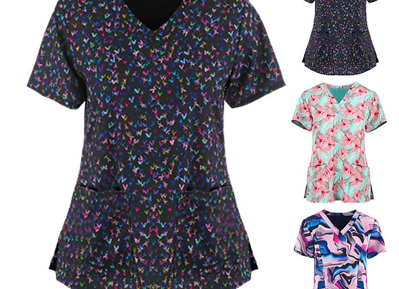 #AA04 Women Short Sleeve Neck Tops Working Uniform Colorful Print Blouse Nu