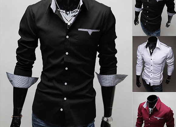 6 Style Fashion New Mens Long Sleeve Slim Fit Shirt Stylish Casual Top Shirts