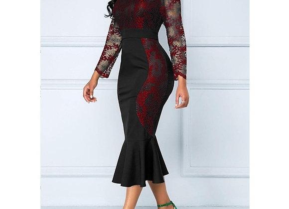 Casual Plus Size Slim Office Bodycon Dresses Vintage Elegant  Lace