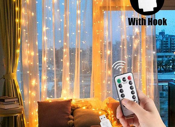 1/2/3m LED Fairy Lights Garland Curtain Lamp Remote Control USB String Lights Ne