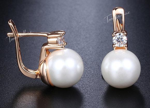 Elegant White Simulated Pearl Stud Earrings Cubic Zirconia CZ 585 Rose Gold