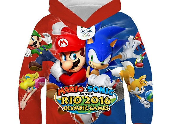 3D Print Mario Bros Hoodies Boys Kids Clothes Winter Plus Cashmere Warm Jacket