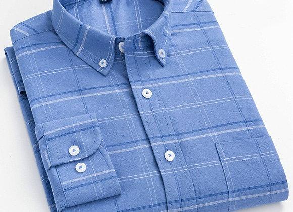 8XL 7XL 100% Pure Cotton Oxford Striped Plaid Shirt Business Pocket Casual High
